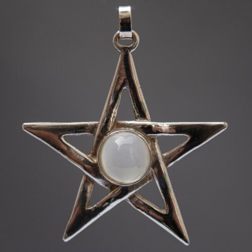 Cat's Eye Moonstone Sterling Silver Pentacle Pendant
