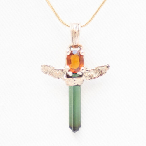 Green Tourmaline Angel Pendant