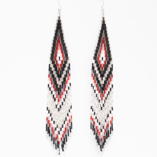 Black White Beaded Earrings