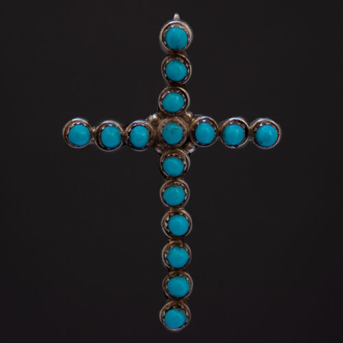 Vintage Navajo Turquoise Silver Cross Pendant