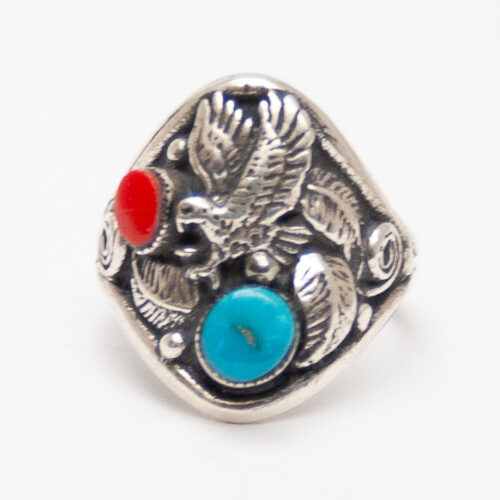Turquoise Coral Eagle Ring