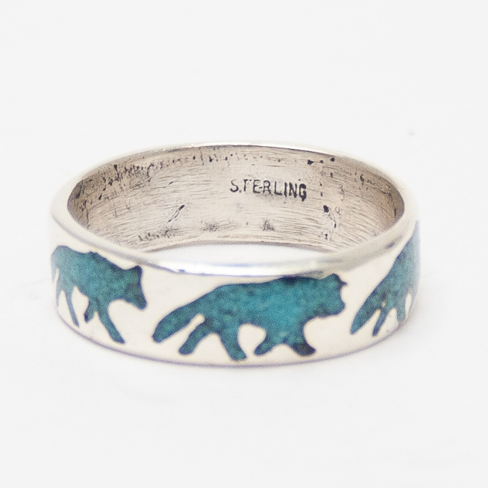 Turquoise Chip Wolf Ring