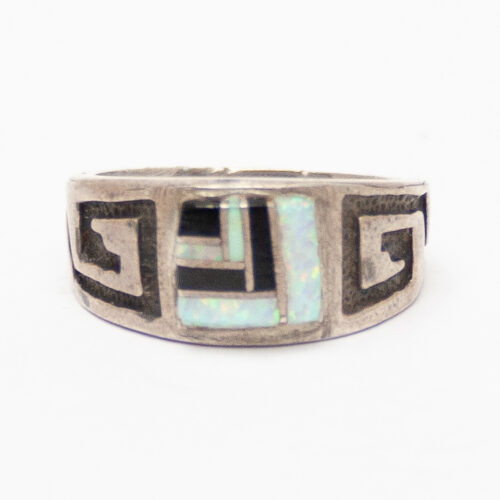 Greek Key Opal Ring