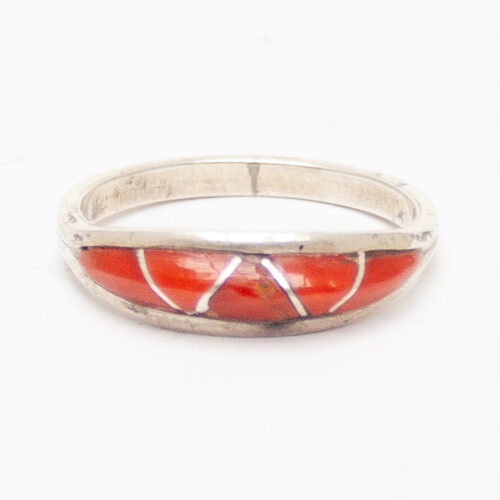 Coral Zigzag Dome Ring