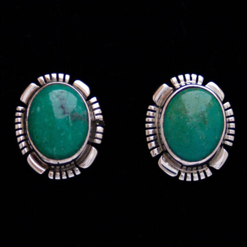 Johnnie Frank Green Turquoise Stud Earrings