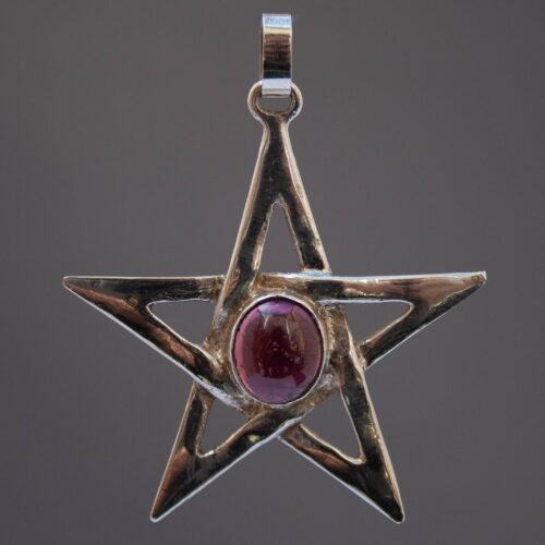 Red Garnet Sterling Silver Pentacle Pendant