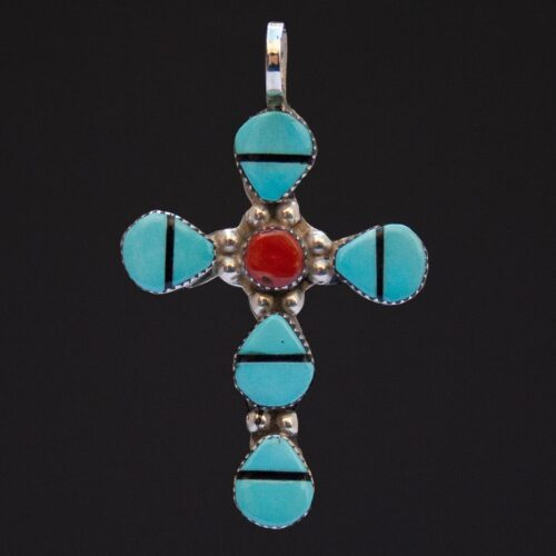 Turquoise Coral Zuni Cross Pendant