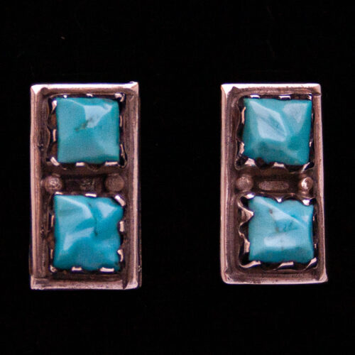 Vintage Double Square Turquoise Navajo Studs
