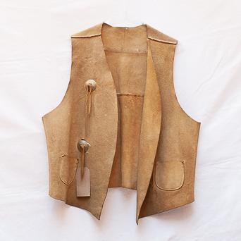 Vintage Leather Fringed Waistcoat