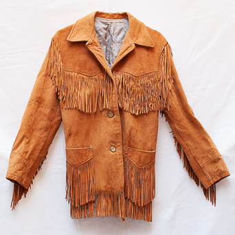 Vintage Brown Leather Fringed Jacket