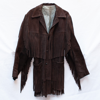 Dark Suede Fringed Leather Jacket