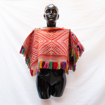 Vintage Red Fringed Poncho