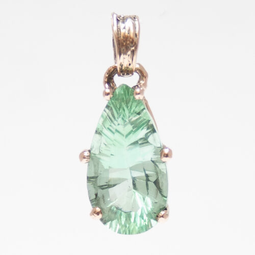 9K Gold Faceted Green Fluorite Pendant