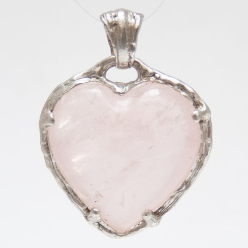 Sterling Silver Rose Quartz Heart Pendant Medium