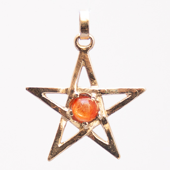 18K Gold Sunstone Pentacle Pendant