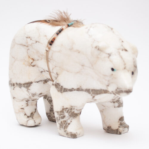Large White Marble Zuni Bear Carving