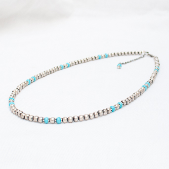 Silver Turquoise Beaded Necklace