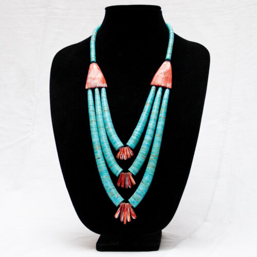 Large Triple-Strand Turquoise Spondylus Necklace