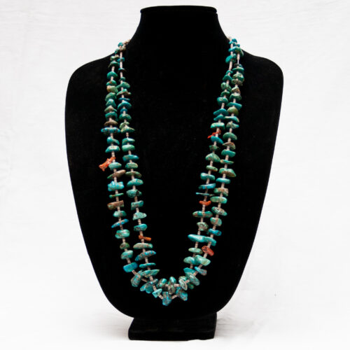 Long Double-Strand Turquoise Nugget Necklace