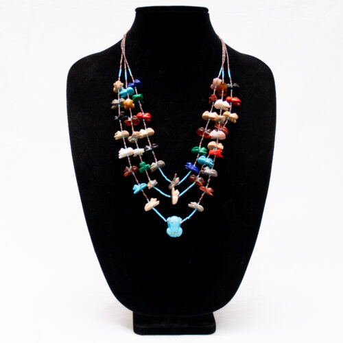 Multicolour Frog Zuni Animal Necklace