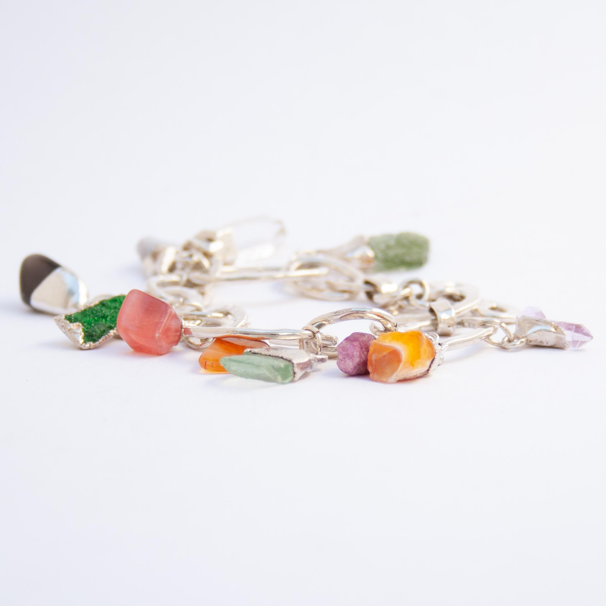 Multi Crystal Silver Charm Bracelet