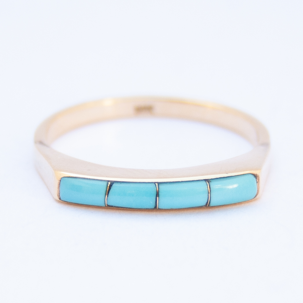 14K Gold Native American Zuni Turquoise Ring