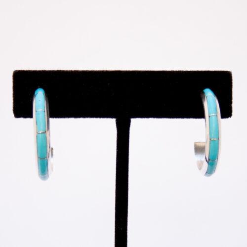Zuni Medium Smooth Turquoise Hoop Earrings