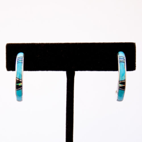 Zuni Turquoise Opal Jet Inlay Hoop Earrings