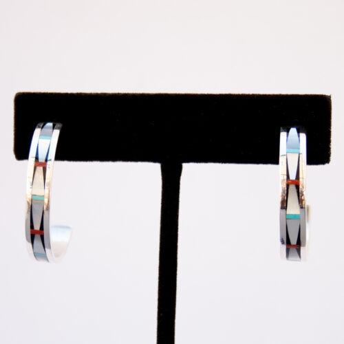 Zuni White Pearl Inlay Hoop Earrings