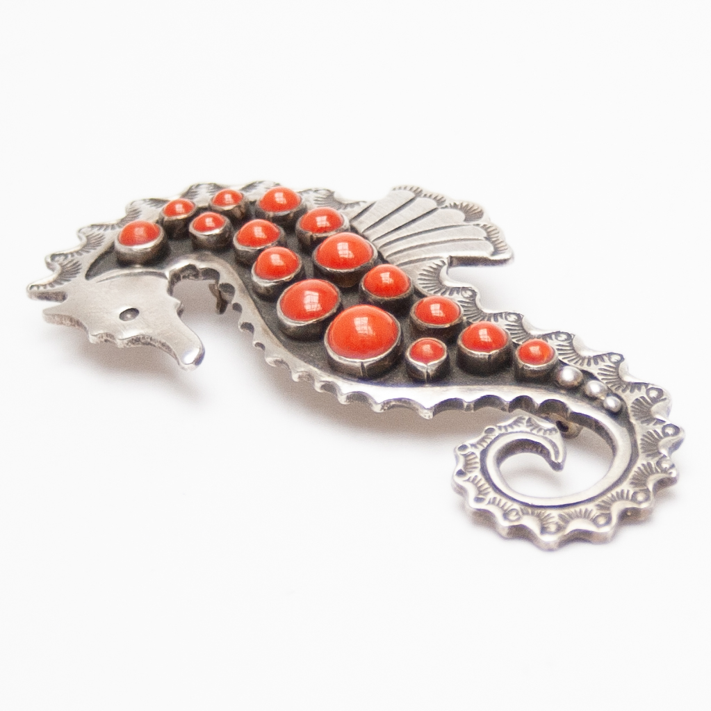 Lee Charley Red Coral Seahorse Pin Brooch Pendant