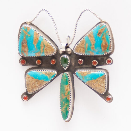 Native American Turquoise Butterfly Pin Brooch