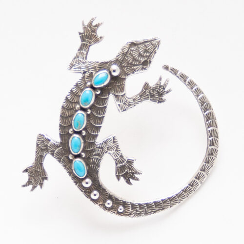 Lee Charley Turquoise Salamander Pin Brooch Pendant