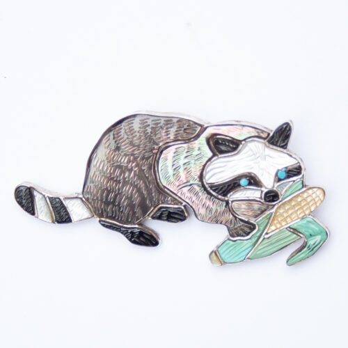 Virgil and Shirley Benn Corn Eating Raccoon Pin Brooch