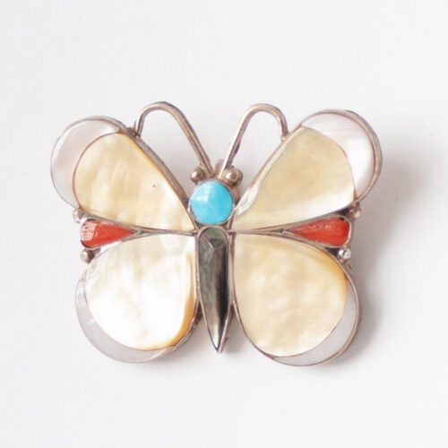 Native American Pearl Butterfly Pin Brooch Pendant