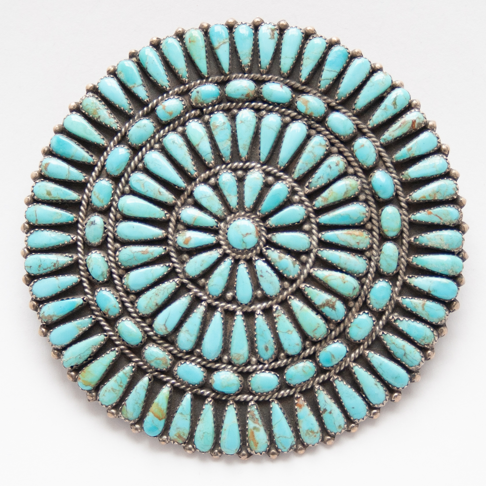 Large Vintage Judy Wallace Turquoise Needlepoint Pin Brooch Pendant