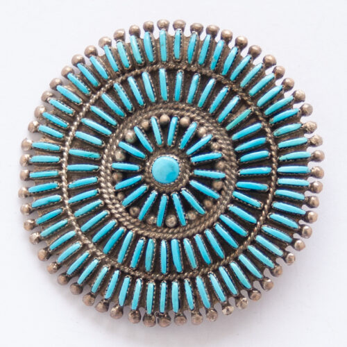 Vintage Navajo Petit Point Turquoise Pin Brooch Pendant