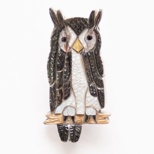 Native American Black White Owl Pin Brooch Pendant