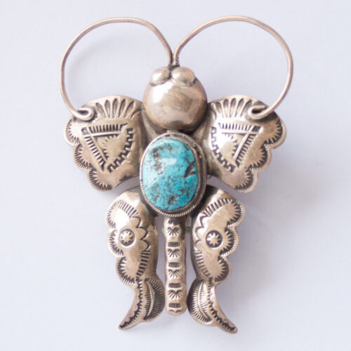 Vintage Joe Eby Silver Turquoise Butterfly Pin Brooch Pendant