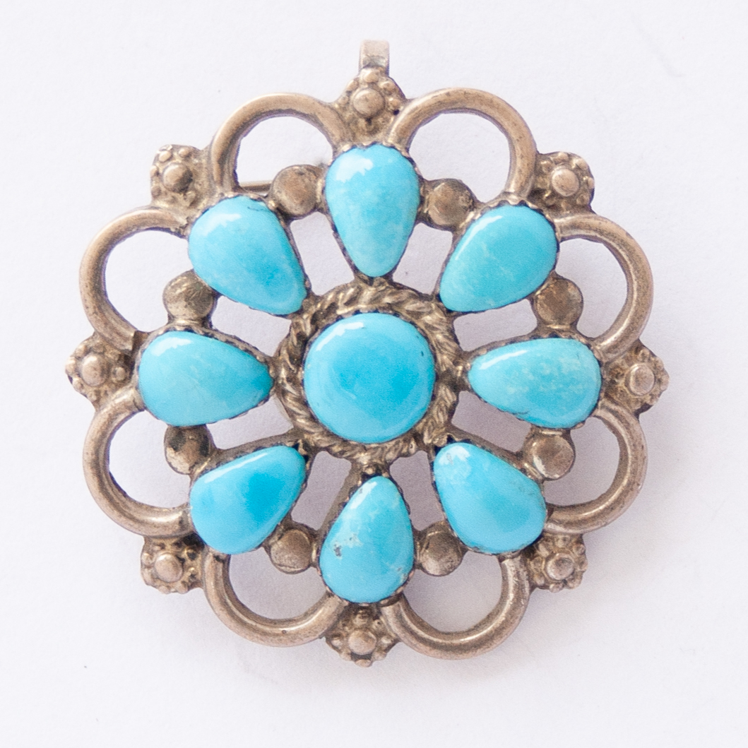 P.W. Turquoise Flower Pin Brooch Pendant