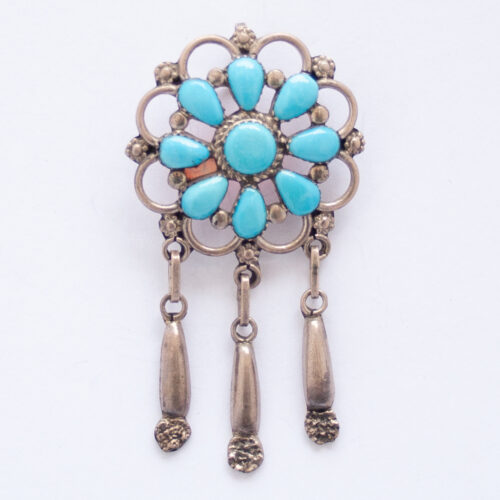 P.W. Tasselled Turquoise Flower Pin Brooch Pendant