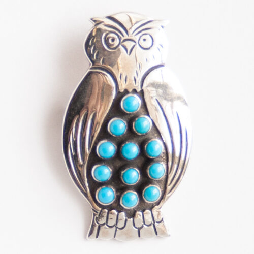 Lee Charley Turquoise Owl Pin Brooch Pendant