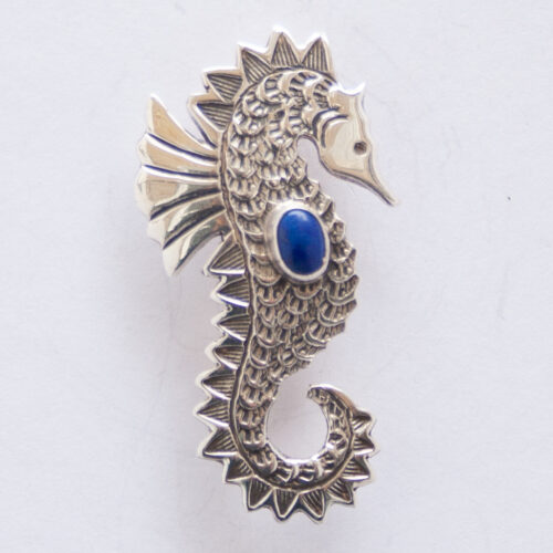 Lee Charley Small Lapis Seahorse Pin Brooch