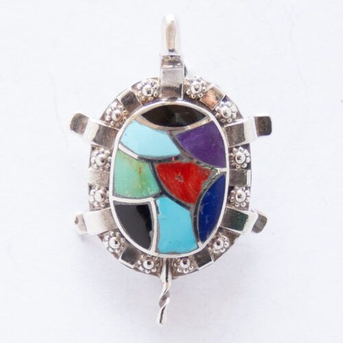 Native American Zuni Turtle Pin Brooch Pendant