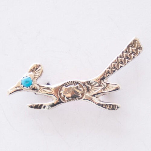 Native American Turquoise Silver Roadrunner Pin