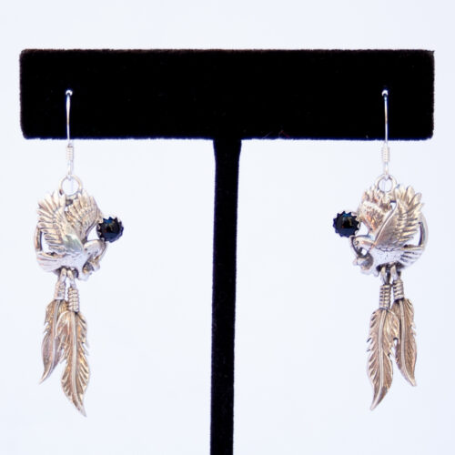 Native American Jet Eagle Drop Earrings