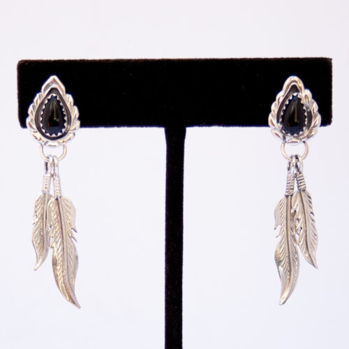 Native American Jet Silver Feather Earrings