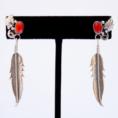 Red Coral Single Silver Feather Drop Earrings