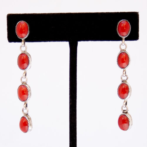 Native American Four Tier Red Coral Drop Earrings