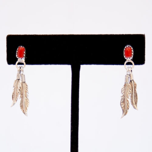 Red Coral Silver Feather Drop Earrings