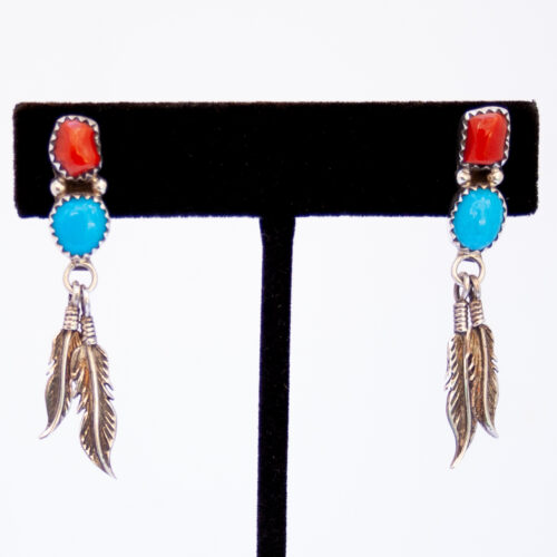 Navajo Blue Red Silver Feather Earrings